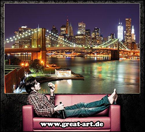 Brooklyn-Bridge-Fototapete-New-York-City-Skyline-mit-Brooklyn-Bridge-leuchtend-bei-Nacht-XXL-Wandbild-Wanddeko-210-x-140-cm-0-3