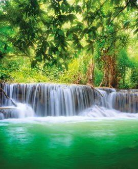 Paradies-Fototapete-Wasserfall-im-Wald-Dschungel-Fluss-Kanchanaburi-Thailand-Si-Sawa-Wandbild-XXL-Wanddeko-210-x-140-cm-0