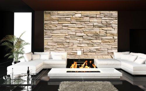 wanddeko wohnzimmer stein asian stonewall beige hellbraun - Fototapete Steinmauer Wohnzimmer