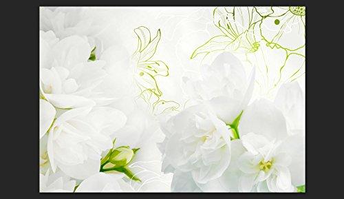 Vlies-Fototapete-350x245-cm-Top-Tapete-Wandbilder-XXL-Wandbild-Bild-Fototapeten-Tapeten-Wandtapete-Wand-Blumen-wei-grn-rose-blau-b-A-0022-a-b-3-Farben-zur-Auswahl-0-0