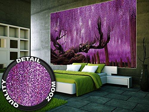 Wisteria-Fototapete-Blauregen-Schmetterlingsbltler-Wandbild-XXL-Poster-Wisteria-Wisterien-Wanddeko-Blumen-210-x-140-cm-0-3
