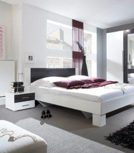 Schlafzimmer-Komplettset-weiss-mit-Absetzungen-in-Kernnuss-dunkel-0