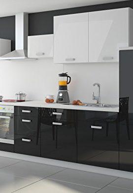 Kche-Color-340cm-Kchenzeile-Kchenblock-Einbaukche-in-Hochglanz-SchwarzWeiss-0