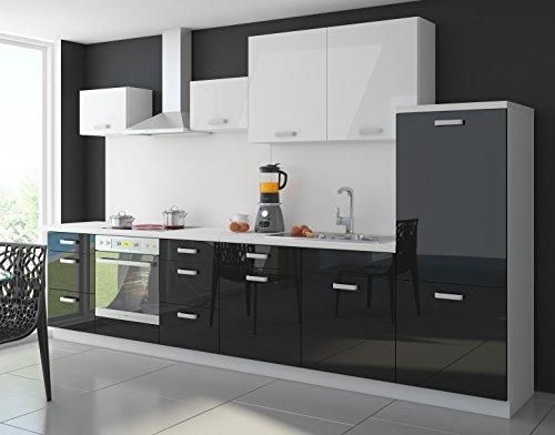 moebeldeal k che color 340cm k chenzeile k chenblock einbauk che in hochglanz schwarz weiss. Black Bedroom Furniture Sets. Home Design Ideas