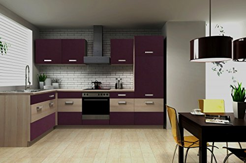 moebeldeal k che susanne 172 280 cm k chenzeile in aubergine akazie k chenblock variabel. Black Bedroom Furniture Sets. Home Design Ideas