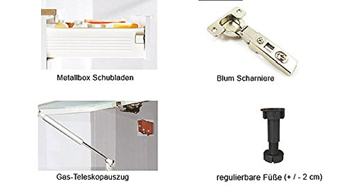 Kchenzeile-Kchenblock-16893-L-Form-250-x-210-cm-grau-rosenrot-wei-Hochglanz-0-5
